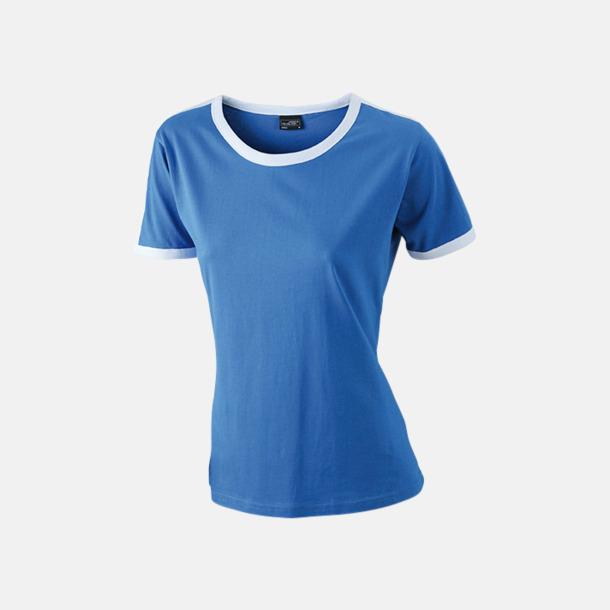 Royal/Vit (dam) T-shirts med kontrastfärger - med reklamtryck