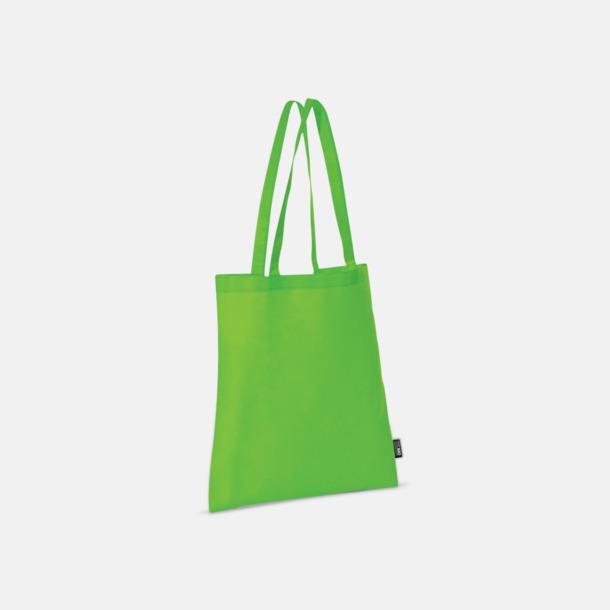 Ljusgrön (långa handtag) Billiga kassar med korta eller långa handtag - med reklamtryck
