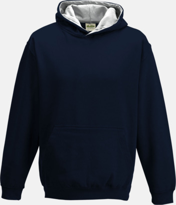 New French Navy/Heather Grey Varsity Hoodie Contrast i barnmodell med reklamtryck
