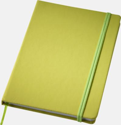 Limegrön (medium) Notisblock med PVC-omslag - med tryck