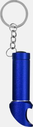Blå Nyckelring, ficklampa och flasköppnare med reklamtryck