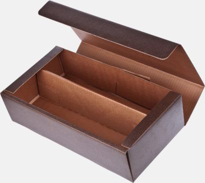 Brun (för 2 öppen) Papperskartonger i flera storlekar - med reklamtryck
