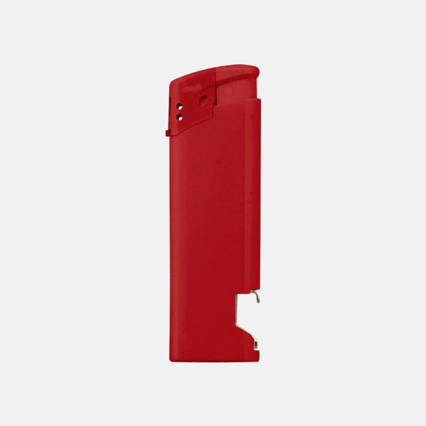 Röd Påfyllningsbara tändare med kapsylöppnare - med reklamtryck
