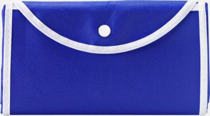 Blå / Vit Vikbara non woven-påsar med knäppning - med reklamtryck