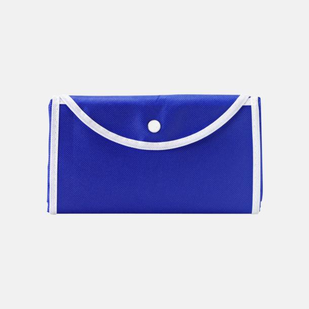 Blå/Vit (bärkasse) Vikbara non woven-påsar med knäppning - med reklamtryck