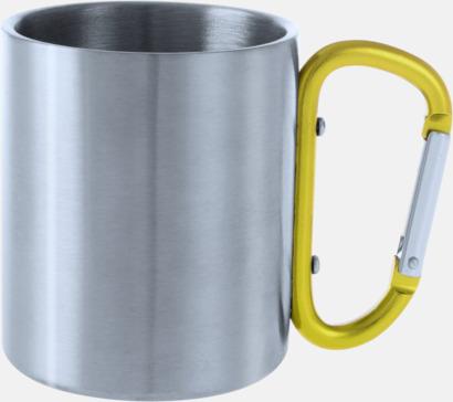 Silver / Gul Stålmuggar med färgat karbinhakeöra med reklamtryck