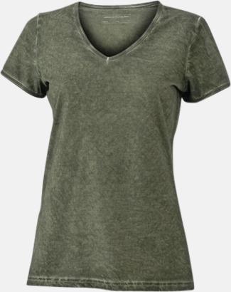 Dusty Olive (dam) Trendiga v-neck t-shirts i herr- och dammodell med reklamtryck