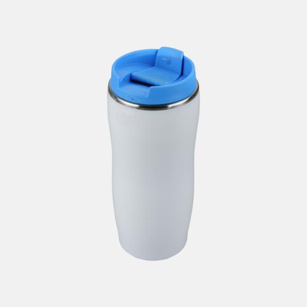 Vit / Ljusblå Take away termosmuggar med reklamtryck