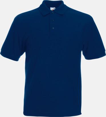Marinblå Pikétröjor med tryck eller brodyr