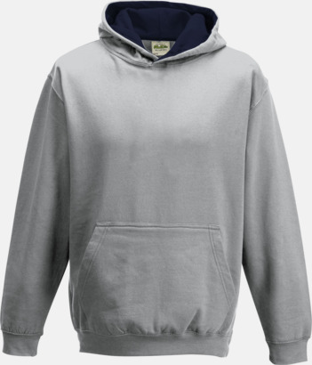 Heather Grey/French Navy Varsity Hoodie Contrast i barnmodell med reklamtryck