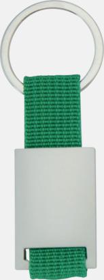 Limegrön / Silver Metallnyckelringar med färgade polyesterband med gravyr