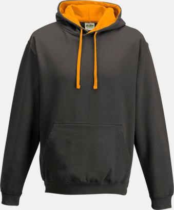 Charcoal (Heather)/Orange Crush Huvtröjor med insida av luva och dragsko i kontrasterande färg - med reklamtryck