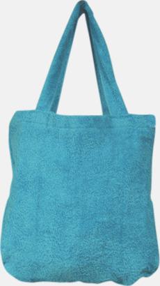 """Blue Caracao Bomullsväskor av """"handduksfrotté"""" med bordyr"""