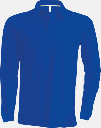 Light Royal Blue Långärmade herrpikéer i många färger med reklamtryck