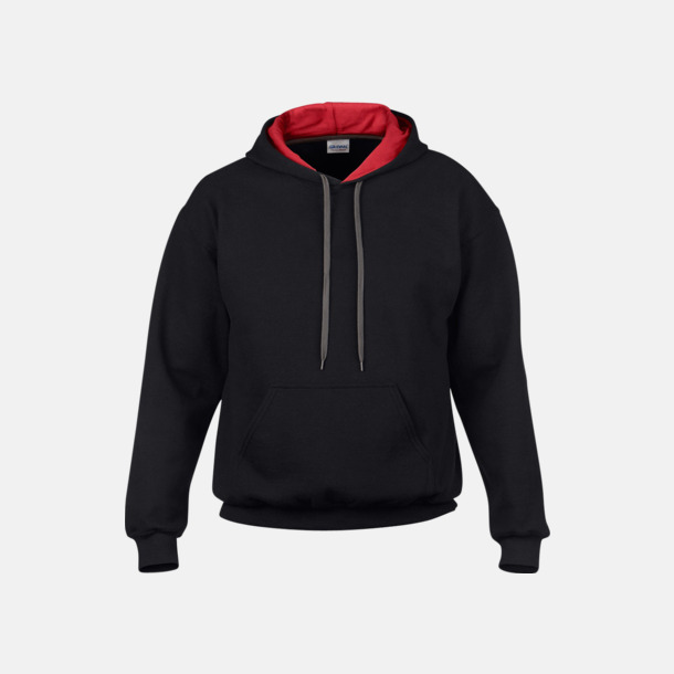 Svart/Röd Tvåfärgade huvtröjor med reklamtryck