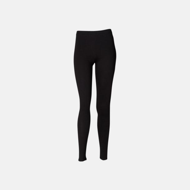 Svart (fullängd) Svarta leggings i två längder med reklamtryck