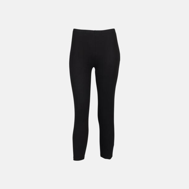 Svart (3/4) Svarta leggings i två längder med reklamtryck