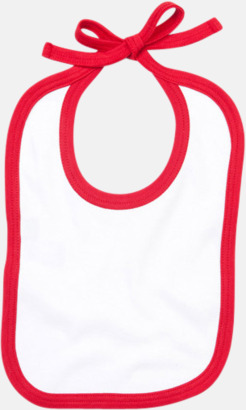Vit/Röd Haklappar i bomull med kontrasterande färgram - med reklamtryck