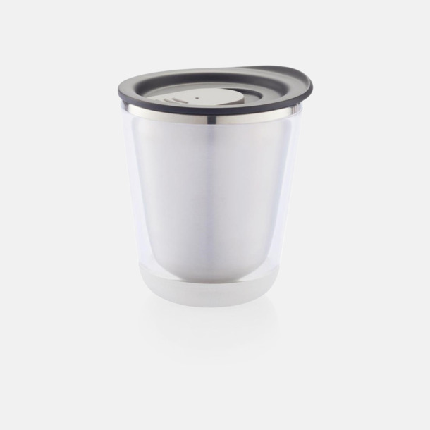 Svart/Grå Isolerade kaffemuggar med lock - med reklamtryck