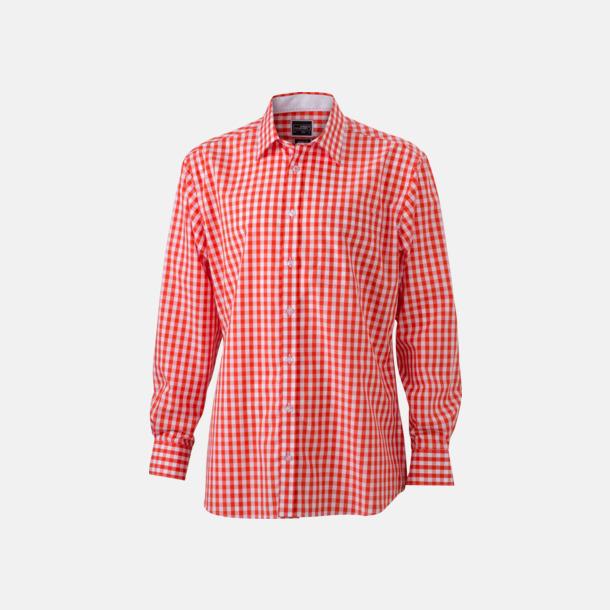 Mörkorange/Vit (herr) Rutiga bomullsskjortor & -blusar med reklamtryck