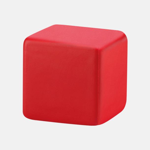 Röd Kubformade stressbollar med reklamtryck
