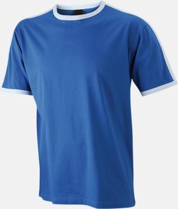 Royal/Vit (herr) T-shirts med kontrastfärger - med reklamtryck