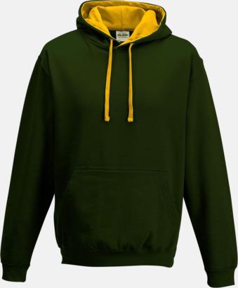Forest Green/Gold Huvtröjor med insida av luva och dragsko i kontrasterande färg - med reklamtryck