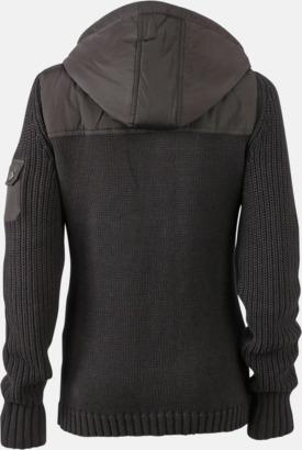 Svart/Dark Grey Melange rygg (dam) Stickade herr- & damjackor med reklamtryck