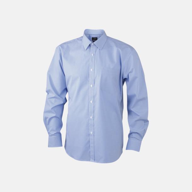 Vit/Ljusblå (herr) Bomullslusar & -skjortor med fina rutor - med reklamtryck