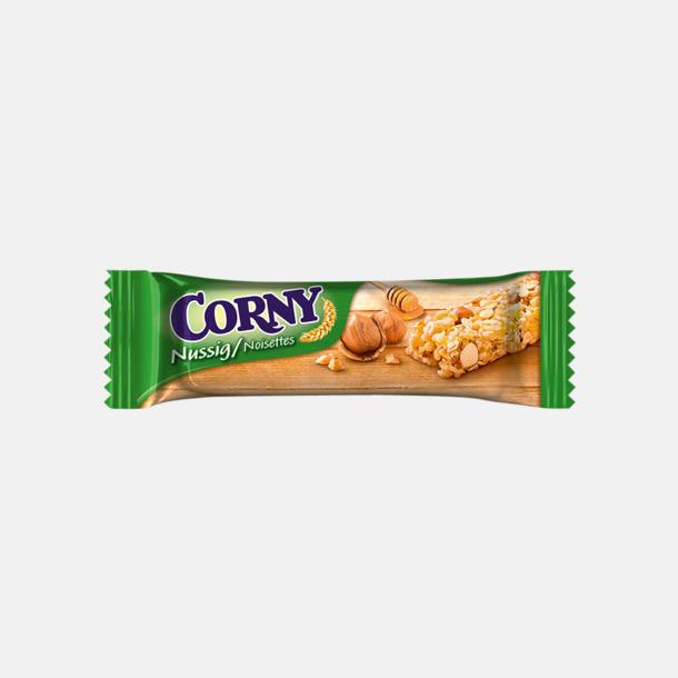 Nut (25 gram) Müslibars i flera varianter från Corny med reklamtryck