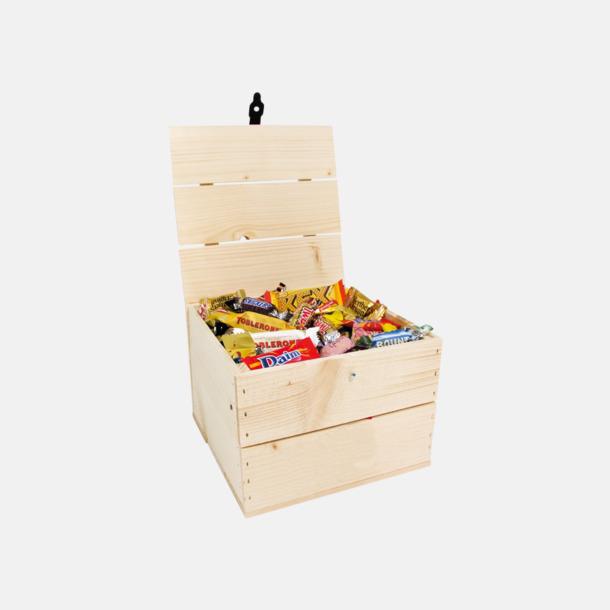 Inslaget godis 1500 gram Inslaget godis i trälådor med reklamlogo