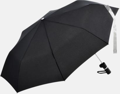 Svart / Silver Paraplyer med skaftet på sidan - med reklamtryck