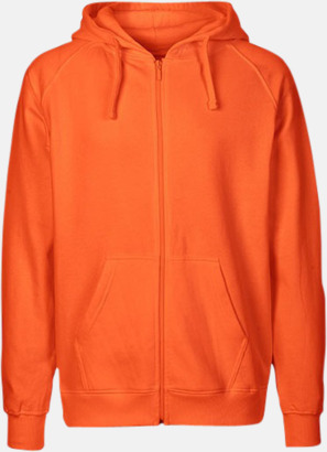 Orange (herr) Ekologiska huvtröjor med blixtlås i herr- & dammodell med reklamtryck