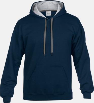 Marinblå/Sport Grey (Heather) Tvåfärgade huvtröjor med reklamtryck
