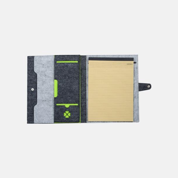 Grå/Ljusgrå/Limegrön Filtmappar med ekologiskt anteckningsblock - med reklamtryck