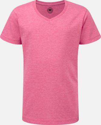 Pink Marl (v-neck flicka) Barn t-shirts i u- och v-hals med reklamtryck
