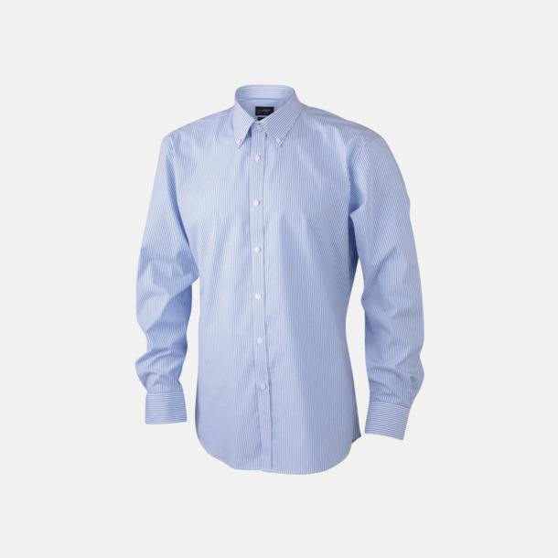Vit/Ljusblå (herr) Bomullsblusar & -skjortor med fina ränder - med reklamtryck