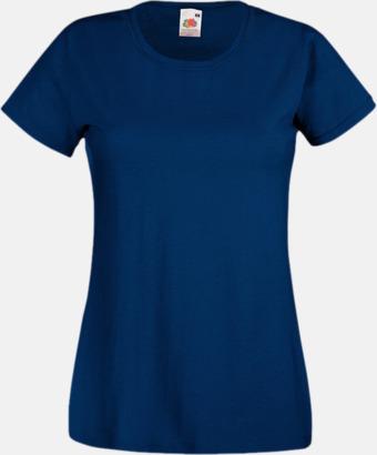 Marinblå Figursydd damt-shirt med reklamtryck
