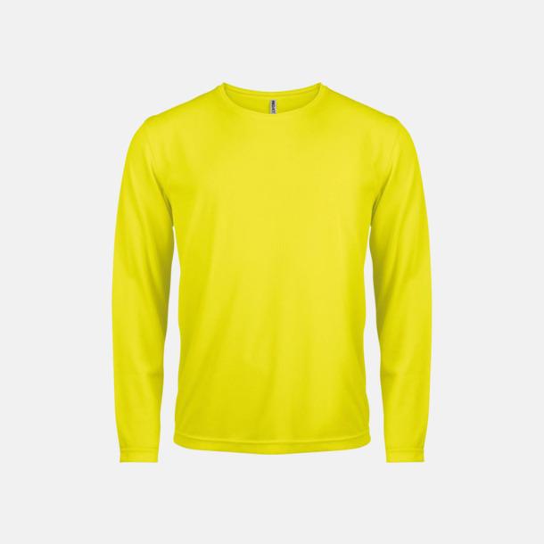 Floucerande Gul Sport t-shirts med långa ärmar för män - med reklamtryck