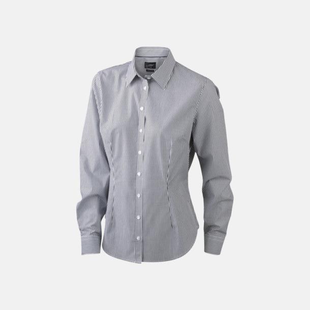 Vit/Svart (dam) Bomullsblusar & -skjortor med fina ränder - med reklamtryck
