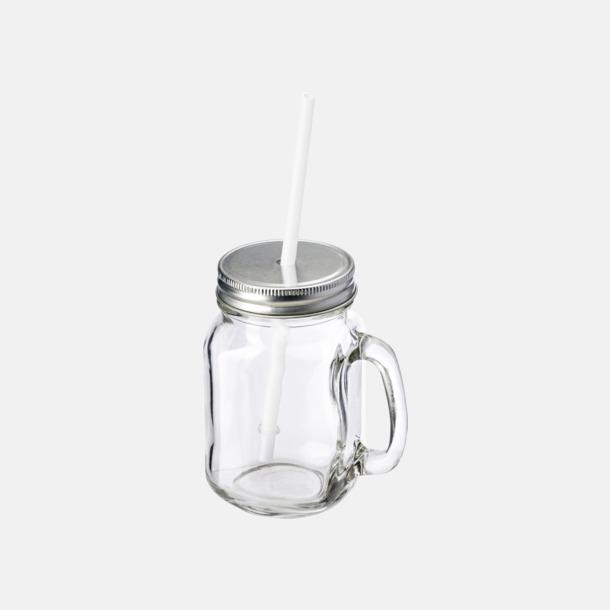 400 ml-glasburk med lock och sugrör - med reklamtryck
