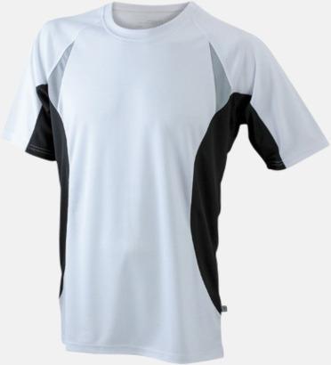 Vit/Svart/Reflex Flerfärgade tränings t-shirts i herrmodell med reklamtryck