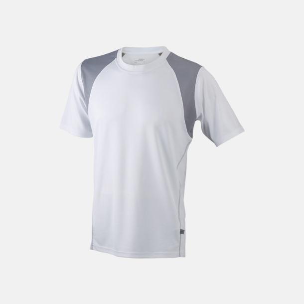 Vit / Silver Flerfärgade tränings t-shirts i herrmodell med reklamtryck