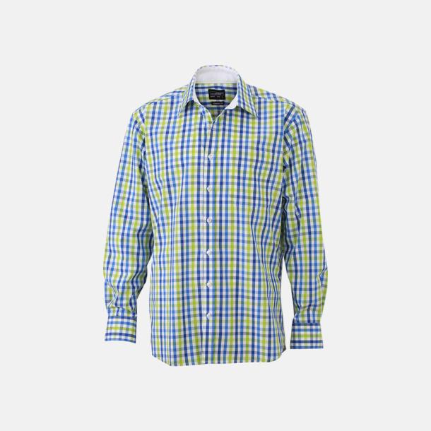Royal/Blå-Grön/Vit (herr) Rutiga bomullsskjortor & -blusar med reklamtryck