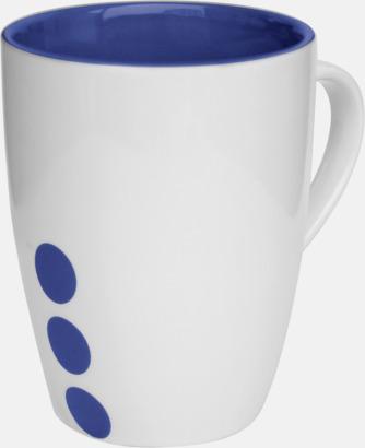 Marinblå (prickig) Stengodsmuggar med randig eller prickiga detaljer - med reklamtryck