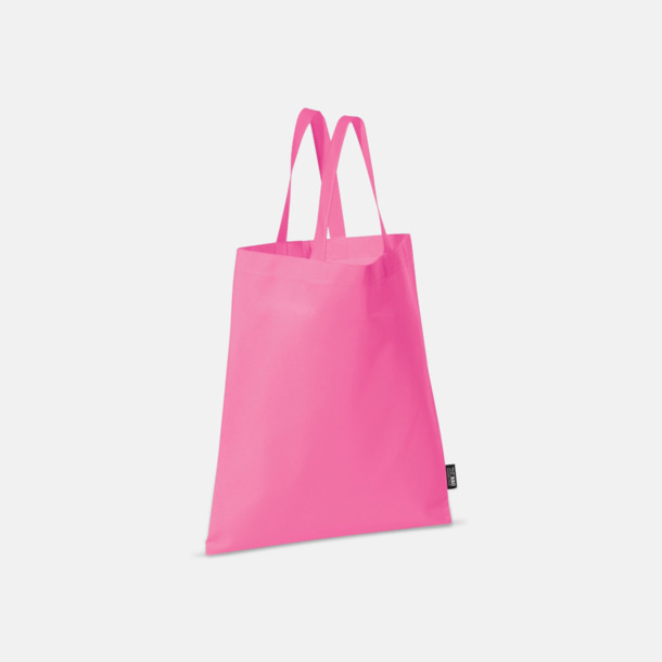 Rosa (korta handtag) Billiga kassar med korta eller långa handtag - med reklamtryck