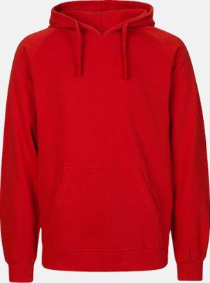 Röd (herr) Ekologiska huvtröjor för herr och dam med tryck
