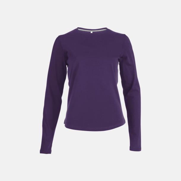 Lila (crewneck, dam) Långärmad t-tröja med rundhals för herr och dam med reklamtryck