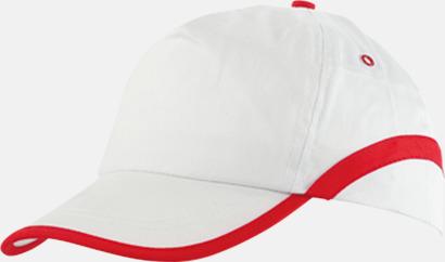 Vit / Röd Snygga och billiga kepsar med reklamtryck