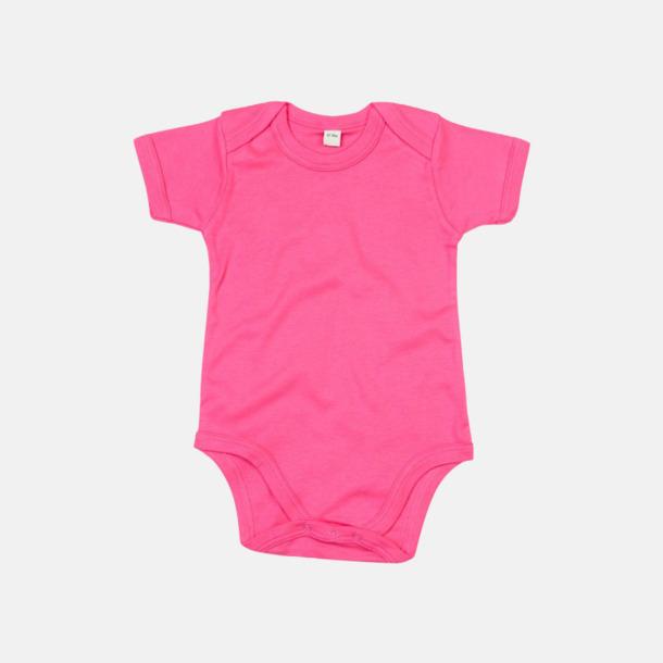 Fuchsia (kort) Ekologiska bodysuits med korta eller långa ärmar - med reklamtryck